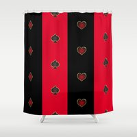 poker Shower Curtains featuring Poker Game by Alexbookpages