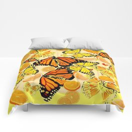 YELLOW MONARCH BUTTERFLY  & ORANGES MARMALADE Comforters