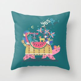 Yes and Yes Yes 005 Turtle Throw Pillow
