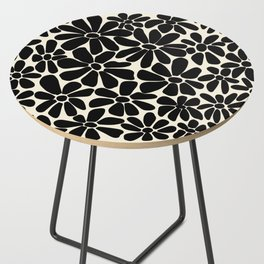 Black and White Retro Floral Art Print  Side Table