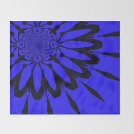The modern flower Royal Blue Throw Blanket