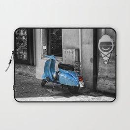 Blue Vespa in Venice Black and White Color Splash Photography Laptop Sleeve