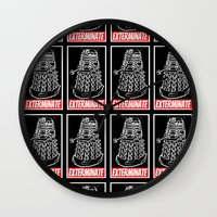dr who Wall Clocks featuring EXTERMINATE  |  Dalek  |  Dr. Who by Silvio Ledbetter