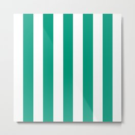 Paolo Veronese green - solid color - white vertical lines pattern Metal Print