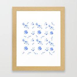 Charleston Floral Sky Blue Framed Art Print