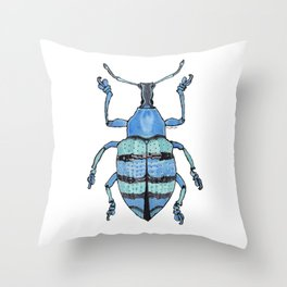 Upholstered Blue Weevil Throw Pillow
