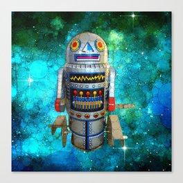 Vintage, retro toy metal robot in galaxy Canvas Print