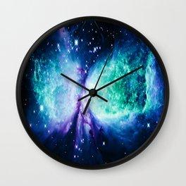 Space Galaxy : A Star is BORN Violet Mint Green Blue Wall Clock