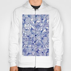Hand painted royal blue white watercolor floral illustration Hoody