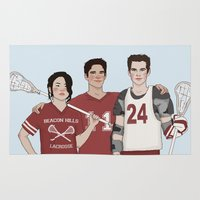 stiles stilinski Area & Throw Rugs featuring Scott McCall/Stiles Stilinski/Kira Yukimura Lacrosse by vulcains