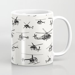 Helicopters on Linen White Coffee Mug