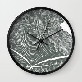 Locust Tree ring image, woodcut print Wall Clock