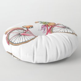 Cute watercolor vintage bike print. Floor Pillow