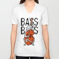 cello V-neck T-shirts featuring Cat Playing A Double Bass by mailboxdisco
