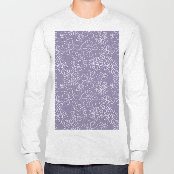 Violet doodle floral pattern Long Sleeve T-shirt