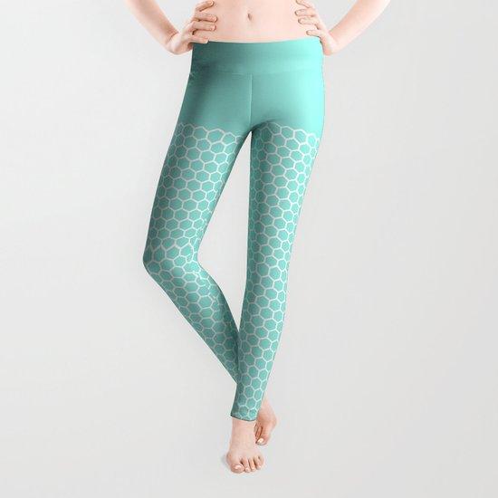 Honeycomb Tiffany Blue Leggings