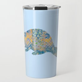 Beaver Vintage Floral Pattern Rustic Country Shabby Chic Blue Yellow Orange Grey Travel Mug