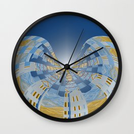 Briliant Blue Geometric Magi Donut Wall Clock