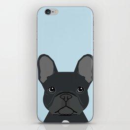 Frenchie art - french bulldog dog art dog portrait cute black french bulldog iPhone Skin