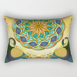Autumn Serenade (Mandala of the Two Peacocks) Dawn Version Rectangular Pillow