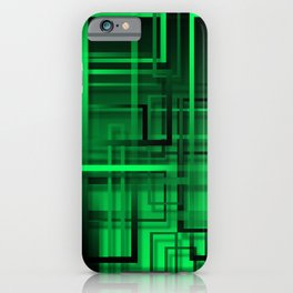 Black and green abstract iPhone Case