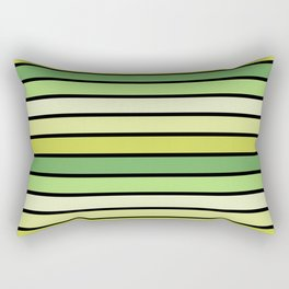 Multicolored Stripes: Shades of Green Rectangular Pillow