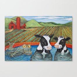 Cows in a Hot Tub Canvas Print