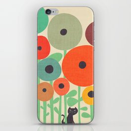 Cat in flower garden iPhone Skin