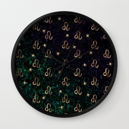 Leo Golden Zodiac Constellation Design Wall Clock