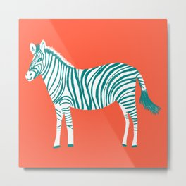 Zebra Parade Pattern Flame Teal Metal Print