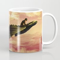 hiccup Mugs featuring Flying - Hiccup and Toothless by BBANDITT