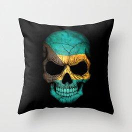 Dark Skull with Flag of Bahamas Throw Pillow