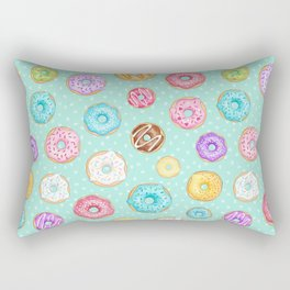Scattered Rainbow Donuts on spotty mint - repeat pattern Rectangular Pillow