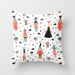 Lovecraft's little girls Throw Pillow