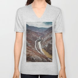 Beautiful picture of the canyon in Serbia. Dramatic sky and mountains Unisex V-Neck