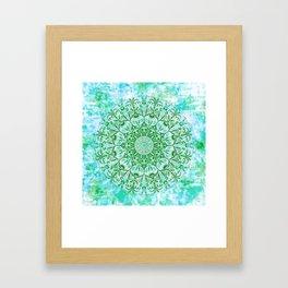Ocean Aqua Blue Watercolor Mandala , Relaxation & Meditation Turquoise Flower Circle Pattern Framed Art Print