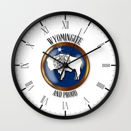 Wyoming Proud Flag Button Wall Clock