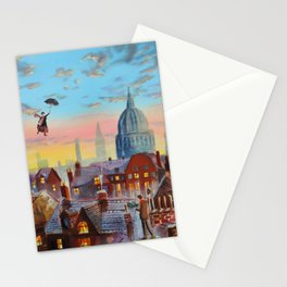 Mary Poppins flying above the rooftops of London Stationery Cards