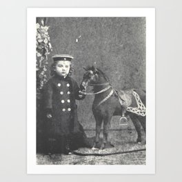1876 Boy with Toy Horse Art Print