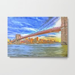Brooklyn Bridge New York Pop Art Metal Print