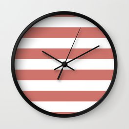 Camellia Pink and White Wide Horizontal Sailor Stripes Wall Clock