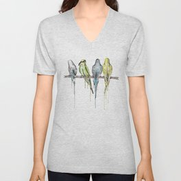 Blindfold the budgie, budgies on a branch Unisex V-Neck