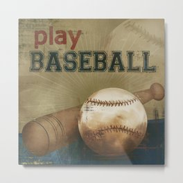 play baseball blue Metal Print