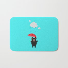 Black Bear with Umbrella Bath Mat