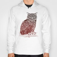 ornate Hoodies featuring Most Ornate Owl by Rachel Caldwell