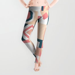 Lovely Geometric Shapes Abstract art in pastel and blue pattern Leggings