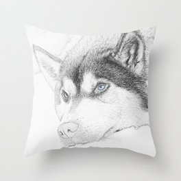 Charcold Wolf Throw Pillow