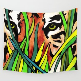 Tiger Eyes Looking Through Tall Grass By annmariescreations Wall Tapestry