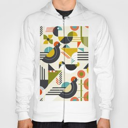 Seamless pattern with stylized birds in retro bauhaus style Hoody