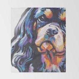 black and tan Cavalier King Charles Spaniel Dog Portrait Pop Art painting by Lea Throw Blanket